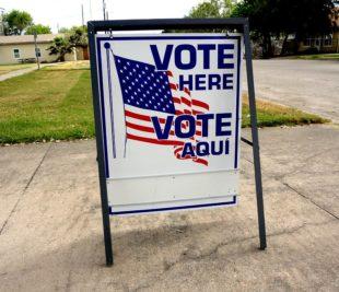 Vote Here sign - Jay Phagan